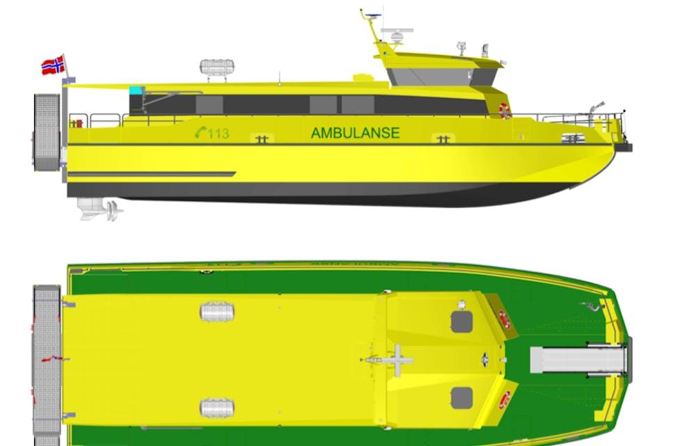 Slik ser eksteriøret til den nye ambulansebåten til Buksér og Berging ut. 4. januar skal han etter planen inn i den medisinske vernebuinga til øyane. Teikning: Kewatec Aluboat.
