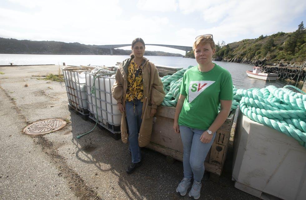 Camilla Ahamath (til venstre) og Ida Sekkingstad i SV utfordrar fiskeria og havbruksnæringa til å ta sterkare grep om eiga ureining.